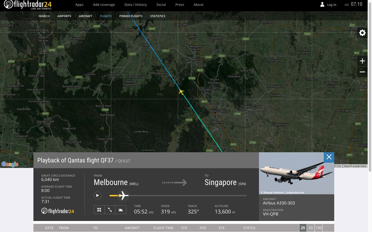 Review of Qantas flight from Melbourne to Singapore in Economy