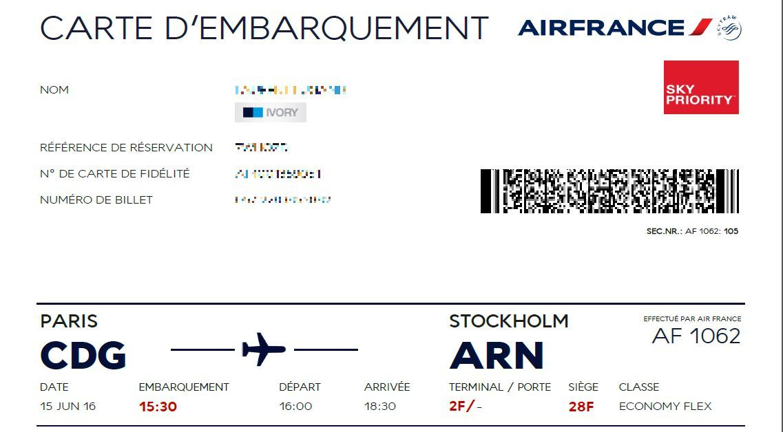 carte d embarquement air france Review of Air France flight from Paris to Stockholm in Economy