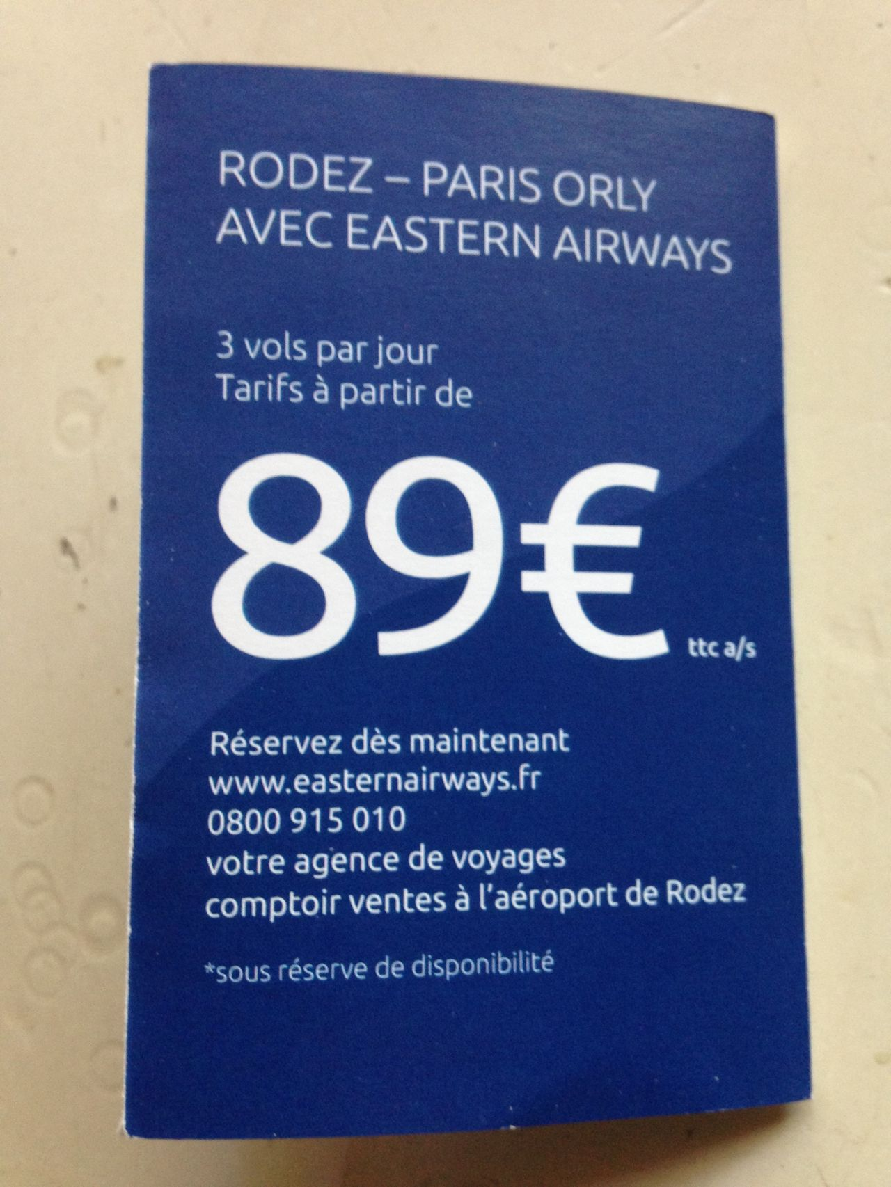 Avis du vol Eastern Airways Paris → Rodez en Economique