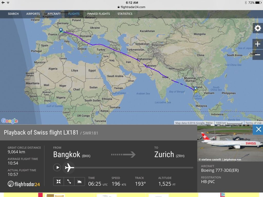 Review of SWISS flight from Bangkok to Zurich in Business