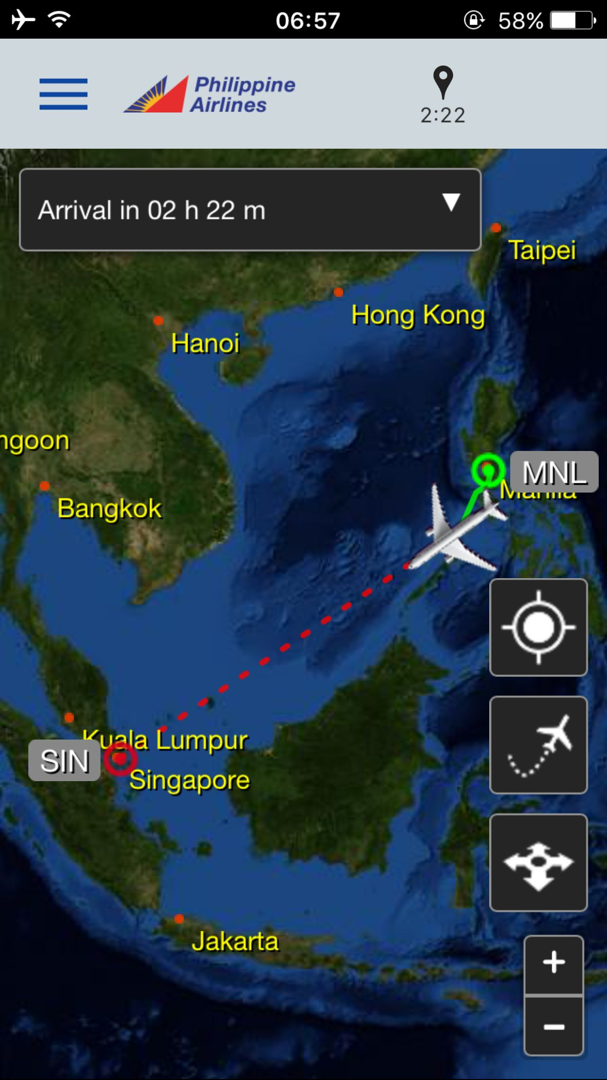Review of Philippine Airlines flight from Manila to Singapore in Economy