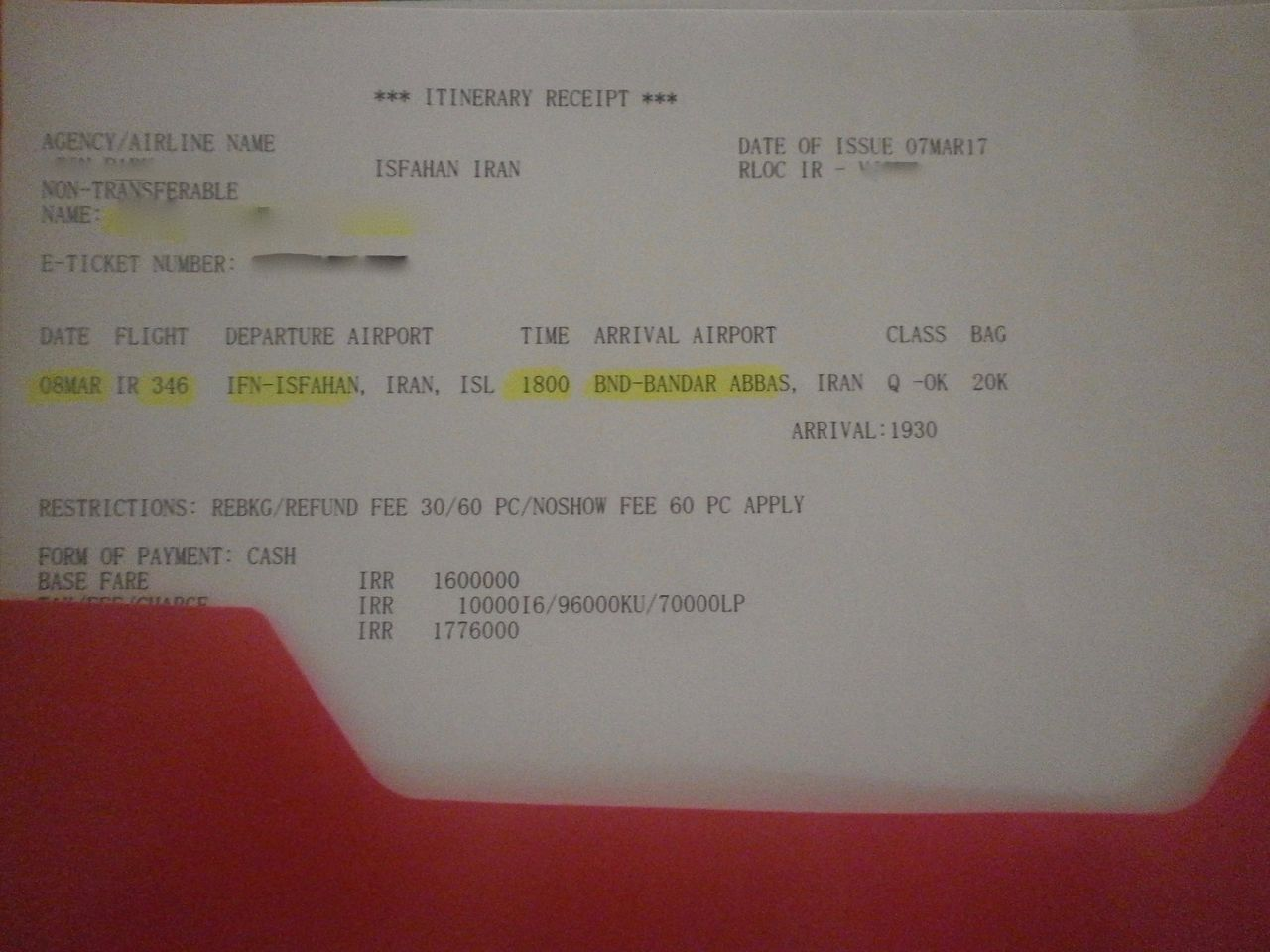 photo itinerary receipt