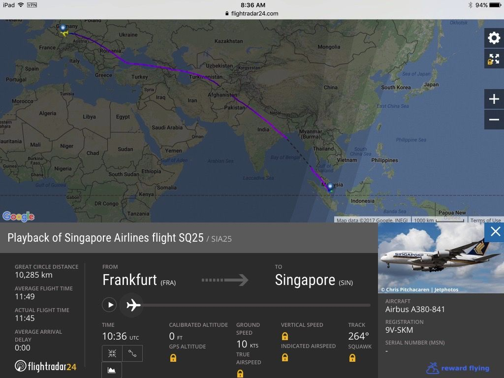 Review of Singapore Airlines flight from Frankfurt to Singapore in First