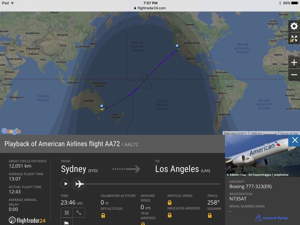 Review of American Airlines flight from Sydney to Los Angeles in First