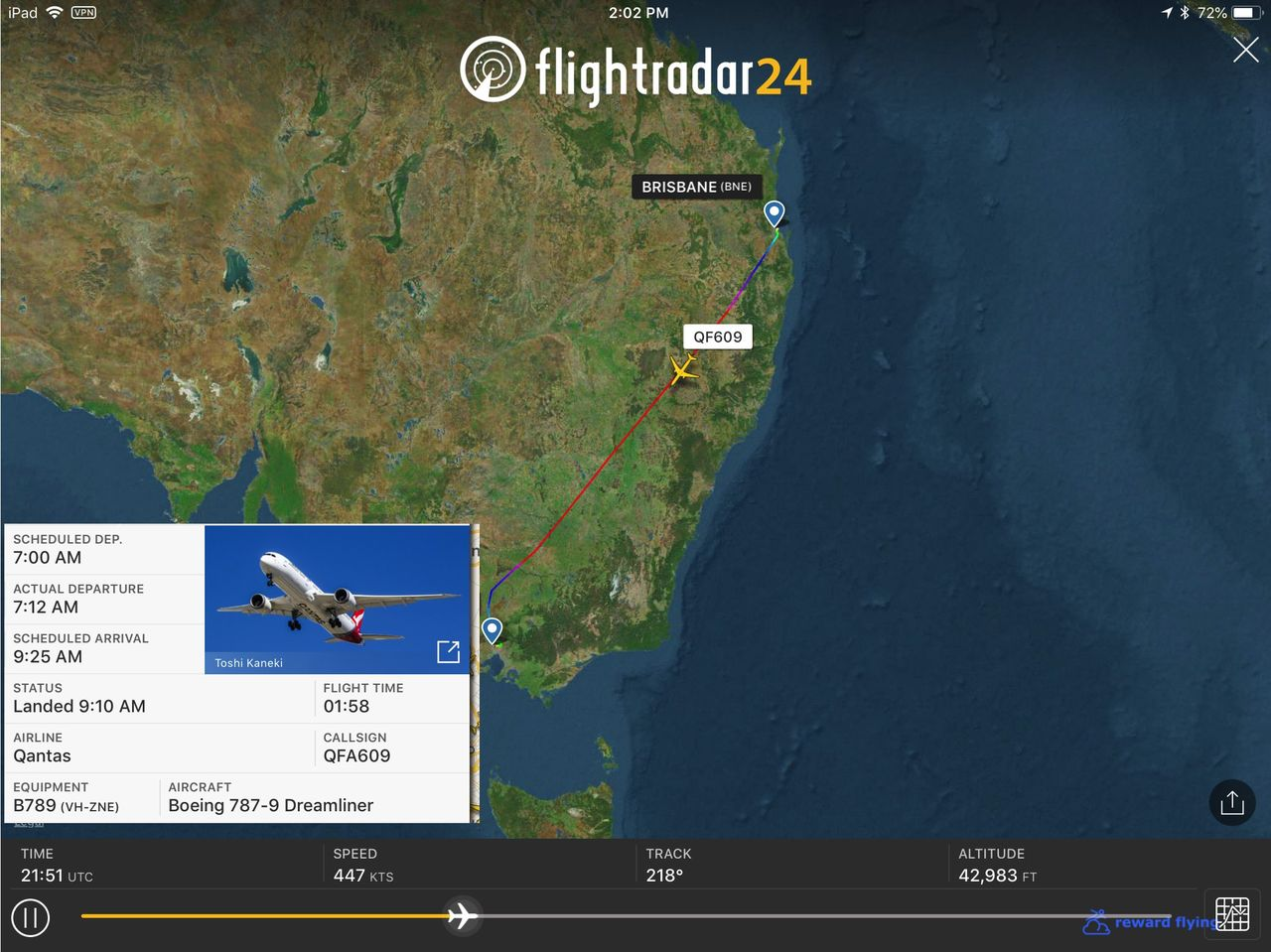 photo qf609 flightpath