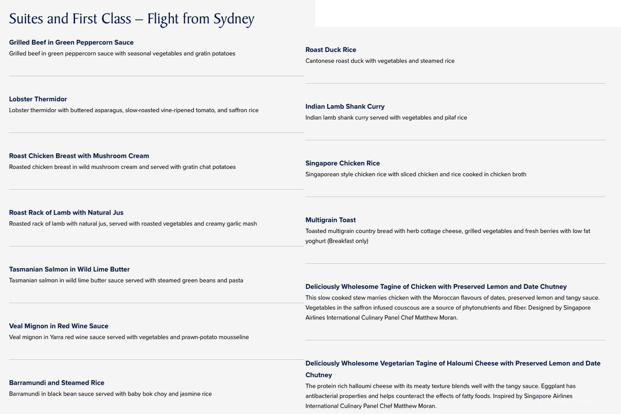 Review of Singapore Airlines flight from Sydney to Singapore in First