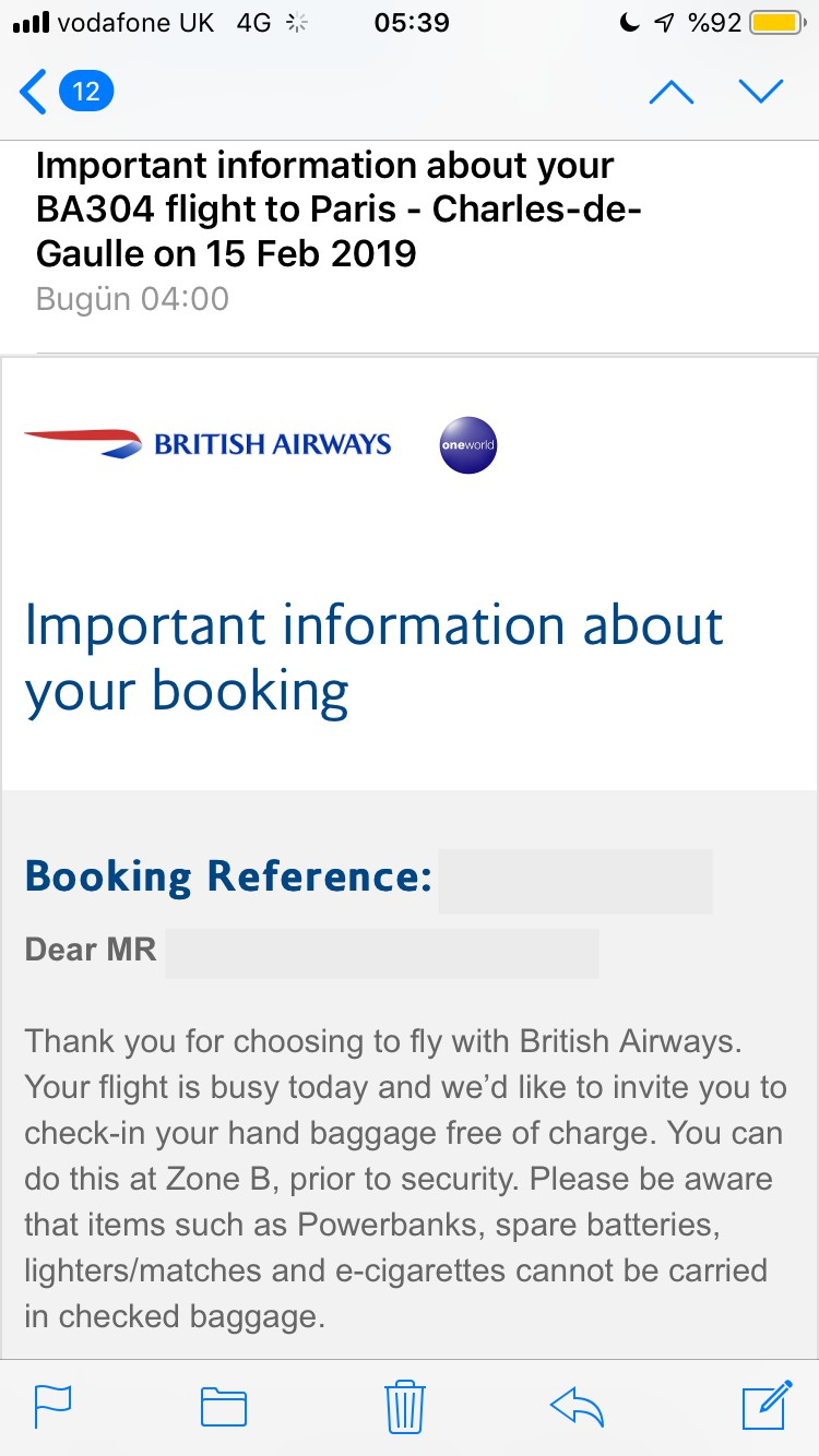 Review of British Airways flight from London to Paris in Economy