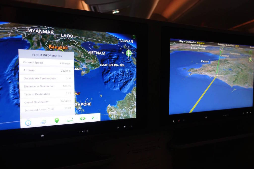 photo  2342h DSC08117 Descending (Flight Map on Two Widescreens) (2329h Begin Descend, Note BKK is UTC7)