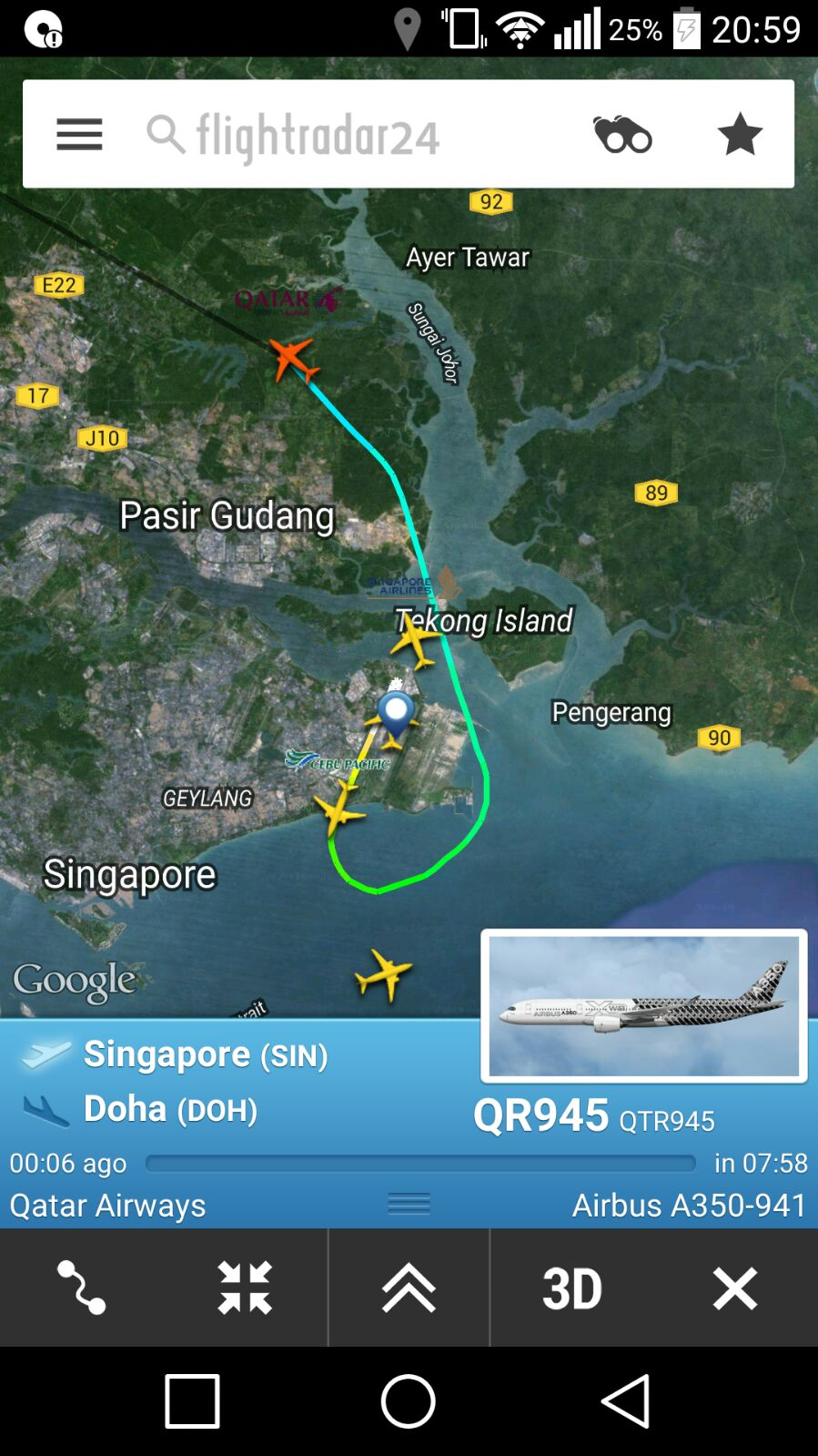 Review of Qatar Airways flight from Singapore to Doha in Economy