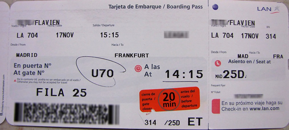 Review Of Lan Airlines Flight From Madrid To Frankfurt In Economy